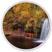 Autumn At Wolf Creek Falls Round Beach Towel