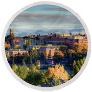 Autumn At Wsu Round Beach Towel