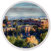 Autumn At Wsu Round Beach Towel by David Patterson