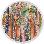 Autumn Bamboo Round Beach Towel by Marionette Taboniar
