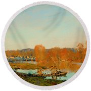 Autumn Banks Of The Seine Near Bougival Round Beach Towel