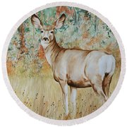 Autumn Beauty- Mule Deer Doe  Round Beach Towel