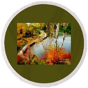 Autumn Birch Lake Boardwalk Round Beach Towel