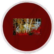 Autumn Birch Lake View Round Beach Towel