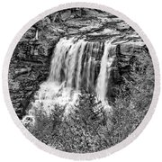 Autumn Blackwater Falls Bw Round Beach Towel