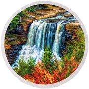 Autumn Blackwater Falls - Paint 3 Round Beach Towel