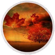 Autumn Blaze Round Beach Towel