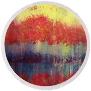 Autumn Bleed Round Beach Towel