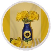 Autumn Blossoms And Blue Vase Round Beach Towel