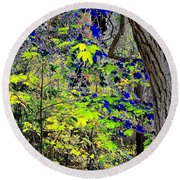 Autumn Blue  Round Beach Towel