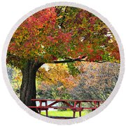 Autumn By The River On 105 Round Beach Towel
