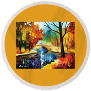 Autumn Calm 2 - Palette Knife Oil Painting On Canvas By Leonid Afremov Round Beach Towel