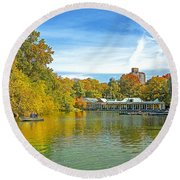 Autumn Central Park Lake And Boathouse Round Beach Towel