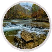 Autumn Cherry Falls Elk River Round Beach Towel