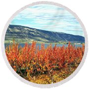 Autumn Cherry Orchard Round Beach Towel