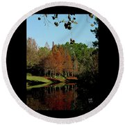 Autumn Color Reflected Round Beach Towel