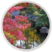 Autumn Color Reflection - Digital Painting Round Beach Towel