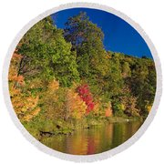 Autumn Color Trees Along Beauty Lake Round Beach Towel