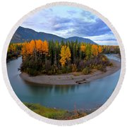 Autumn Colors Along Tanzilla River In Northern British Columbia Round Beach Towel