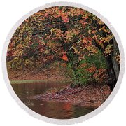 Autumn Colors By The Pond Round Beach Towel