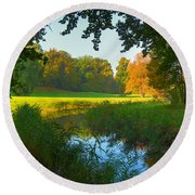 Autumn Colors In A Park Round Beach Towel