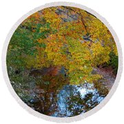 Autumn Colors Of Reflection Round Beach Towel