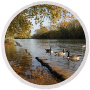 Autumn Colours At Sunbury On Thames Surrey Uk Round Beach Towel