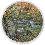 Autumn Comes To The Unami Creek Round Beach Towel