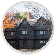 Autumn Comes To The Witch House Round Beach Towel