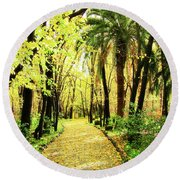 Autumn Corridor Round Beach Towel