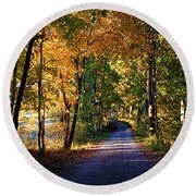 Autumn Country Lane Round Beach Towel