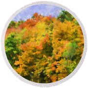Autumn Country On A Hillside II - Digital Paint Round Beach Towel