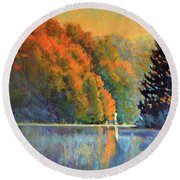 Autumn Day Rising Round Beach Towel