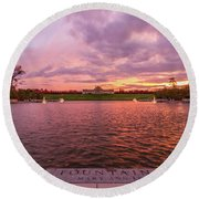 Autumn Evening At Forest Parks Grand Basin Round Beach Towel