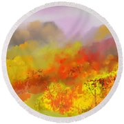 Autumn Expression Round Beach Towel