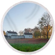 Autumn - Farm At Valley Forge Round Beach Towel