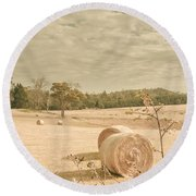 Autumn Farming And Agriculture Landscape Round Beach Towel