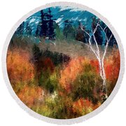 Autumn Feel Round Beach Towel