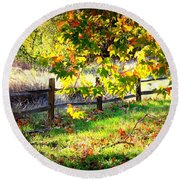 Autumn Fence Round Beach Towel