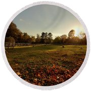 Autumn Field With Sheep Round Beach Towel