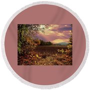 Autumn Fields Round Beach Towel