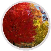 Autumn Fire  In  Red  And  Gold Round Beach Towel