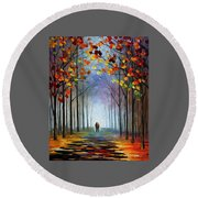 Autumn Fog 4 - Palette Knife Oil Painting On Canvas By Leonid Afremov Round Beach Towel