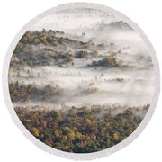 Autumn Fog Round Beach Towel