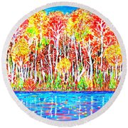 Autumn Foliage Round Beach Towel