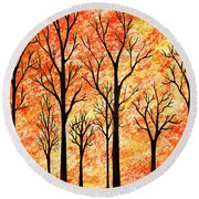 Autumn Forest Abstract  Round Beach Towel