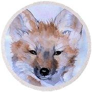 Autumn Fox Round Beach Towel