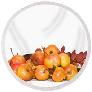 Autumn Friuts And Leaves Round Beach Towel