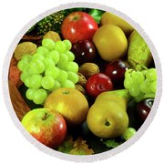 Autumn Fruits. Round Beach Towel