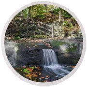 Autumn Glen Olmsted Falls Round Beach Towel by Lon Dittrick